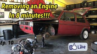 Volkswagen Golf Mk1 Buİld (Ep.9)/ REMOVING ENGINE IN 8 MINS / VW Swap Rabbit Caddy Citi Cabrio Jetta