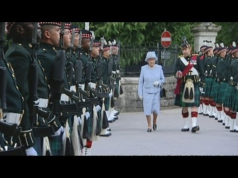 Queen arrives at Balmoral Castle for her summer holiday and meets a Shetland pony