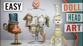 How to Make an Eccentric Doll Head Art Sculpture, Repurpose, Create - DIY Video