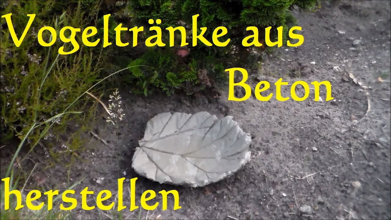 diy vogeltr nke selber basteln aus beton vogeltr nke pflanzblatt aus beton youtube. Black Bedroom Furniture Sets. Home Design Ideas