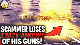 Scammer Loses Crazy Amounts Of Guns! *MUST WATCH* Scammer Gets Exposed In Fortnite Save The World