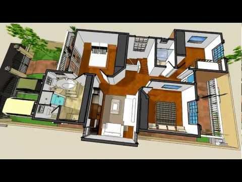 Casa 3d ejemplo fachada trazzos g doovi for Casa moderna minimalista 6 00 m x 12 50 m 220 m2