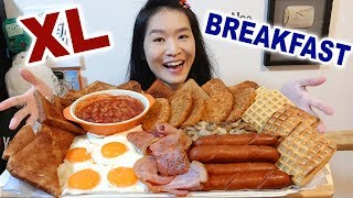 BIG BREAKFAST CHALLENGE!! Fried Bacon & Eggs, Sausages, Baked Beans | Mukbang w/ Asmr Eating Sounds