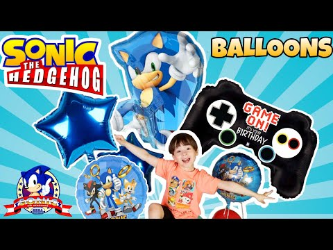 Sonic The Hedgehog BIG BALLOON PARTY Inflating Balloons With HELIUM! Gotta Go FAST 🎮