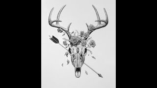 Speed Drawing - Deer Skull Tattoo Design  (3 Minute Drawing)