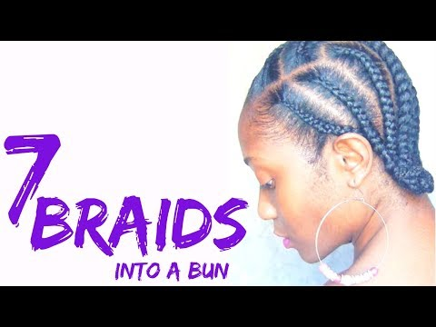 cornrow-braids-into-a-bun-|-natural-hair-protective-style