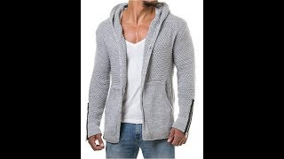 Makkrom Mens Casual Button up Knitted Hooded Cardigan Sweater
