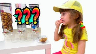 Eva pretend play to be a candy seller. Funny story