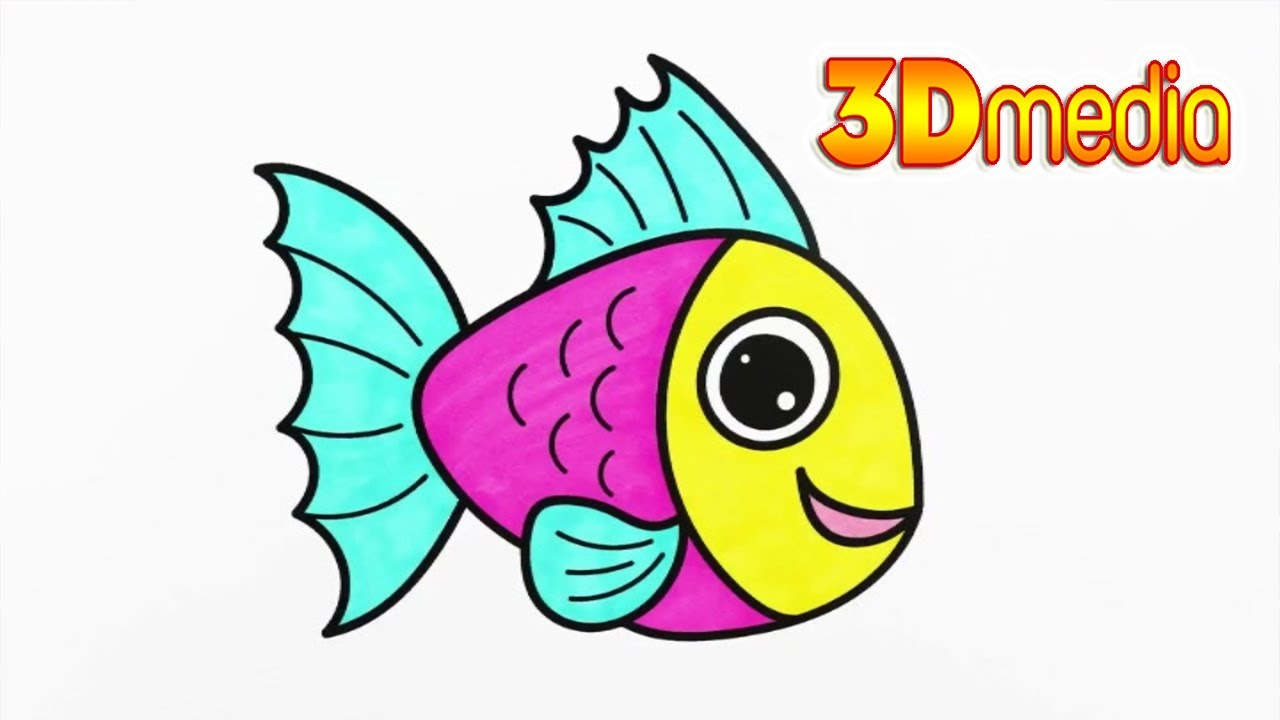 3d media fun kids how to draw fish coloring pages animals sea