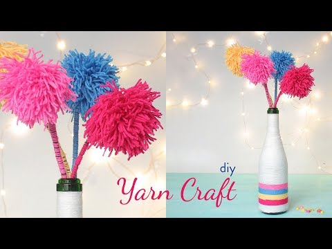 DIY Yarn Craft | Pom Pom Flower | Yarn Bottle