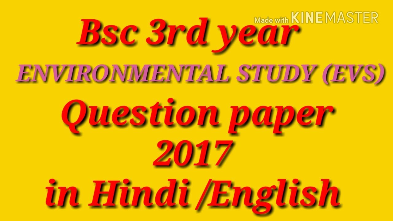 Bsc 3rd year ( EVS ) Question paper 2017 in [Hindi / English] | new star  batch