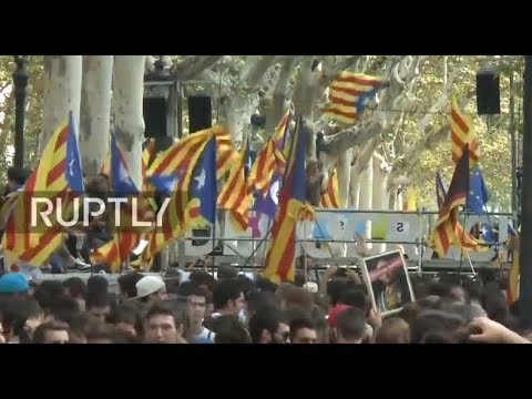 LIVE: Protesters take to the streets in Barcelona against raid on Catalan officials