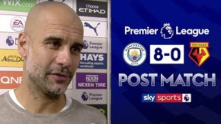 Pep Guardiola reacts to Manchester City's 8-0 win over Watford | Post Match