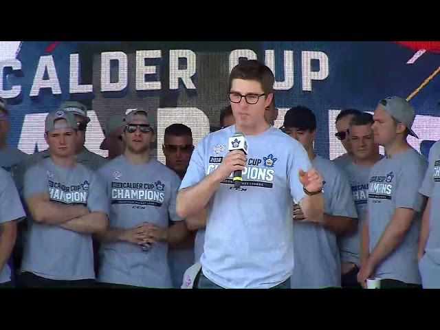 General manger Kyle Dubas thanks the fans and players on a great season at the Marlies Calder Cup Rally.