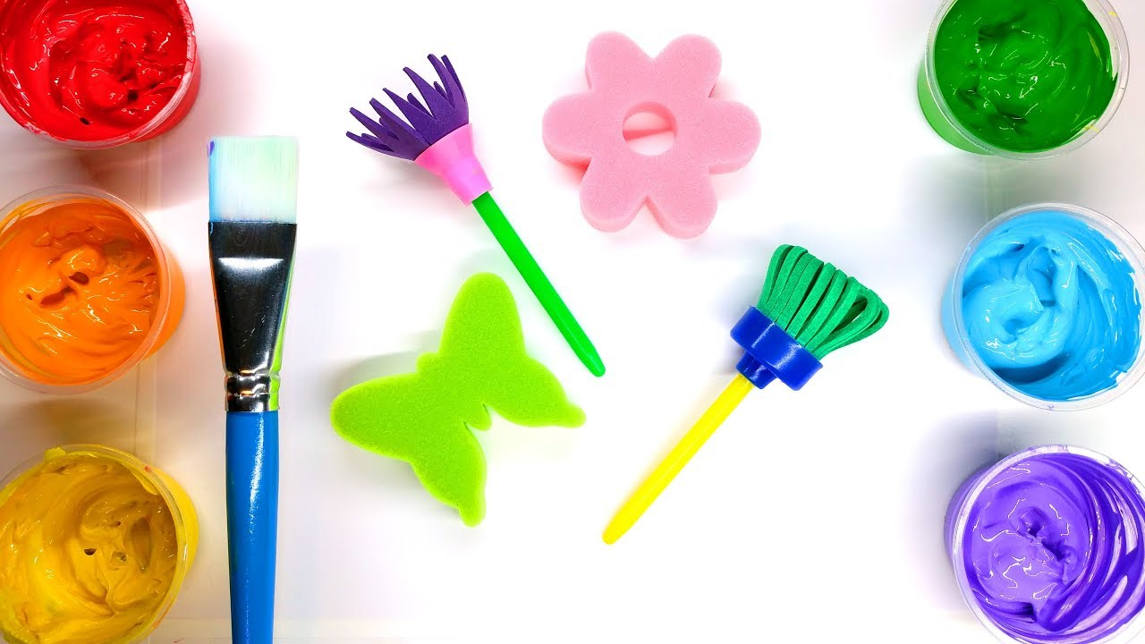 Painting Butterfly Flower Grass and Sky with Sponge Stamps Children ...