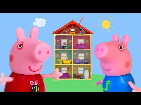 Peppa Pig Hiding Game | Peppa Pig Family and Friends Toys Hiding in Peppa Pig Family Home Playset