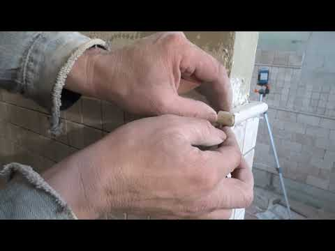 Рабочие  хитрости прм укладки травертина 3 часть.