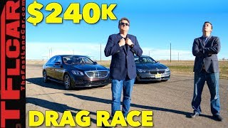 Newly Updated Mercedes-Benz S450 vs BMW 740e Drag Race (Yep, We Went There!)