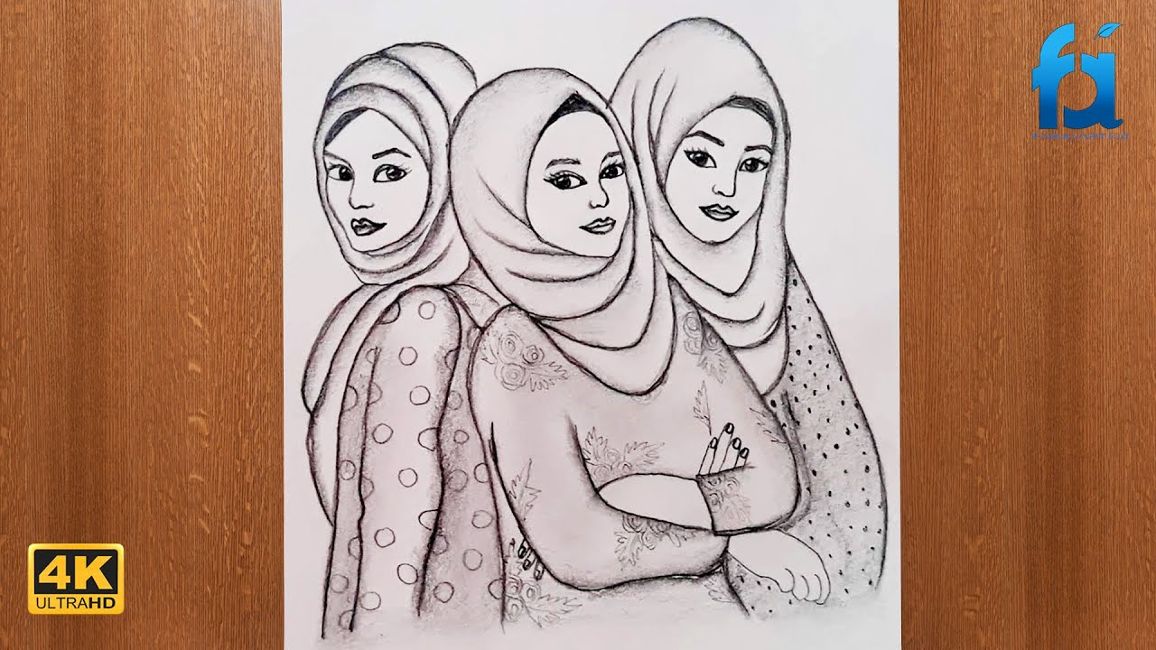 How To Draw Girls With Hijab 4k Hijab Girl Pencil Sketch Best Friends Pencil Sketch Youtube