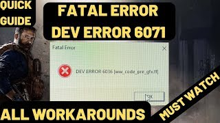 Dev Error 6071 And 5761 Call Of Duty Modern Warfare All WorkArounds| Direct X Error And Crashing FIX