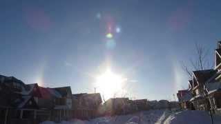 Sun Dog video from Ontario, Canada, January 28, 2014 - -22C (-8F)