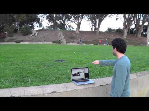 Daniel used javascript, node.js, faye and leap.js to interface between a Leap Motion controller and an AR Drone in 2013.