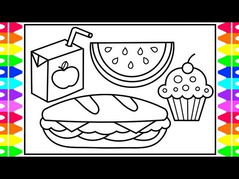 How To Draw FOOD Step By Step For Kids 🍉🍭🍔🥤Yummy Food Drawings For Kids | Fun Coloring Pages