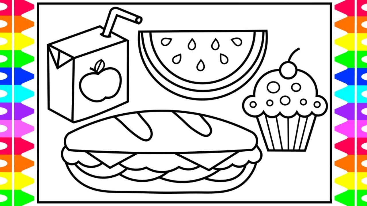 How to Draw FOOD Step by Step for Kids 🍉🍭🍔🥤Yummy Food ...