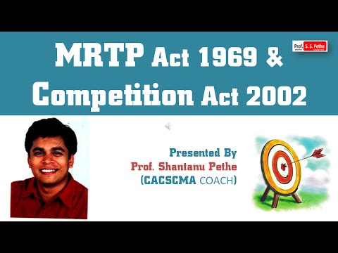 ECL - MRTP Act 1969 & Competition Act 2002 (For Jun / Dec 2016 Exams) Economic & Commercial Laws