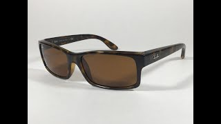 5070c9d9db428 Ray-Ban Active Rectangle Sunglasses Brown Havana Tortoise Nylon Frame Brown  Lens RB4151 710