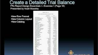 Microsoft FRx Report Design Essentials I Exercise 1 - Detailed Trial Balance