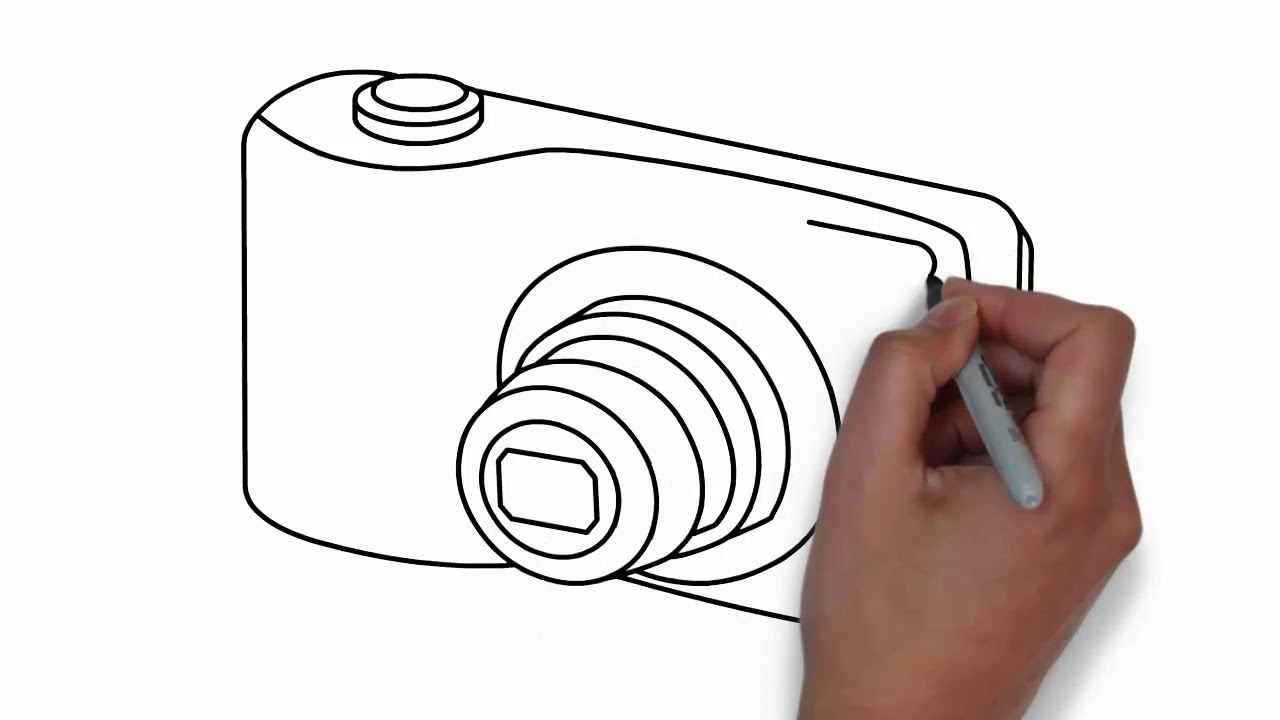 How To Draw A Camera Step By Step Digital Camera Youtube