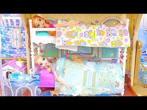 💙Barbie Bunk Bed💙Elsa Anna Frozen💙Princess Bedroom Dollhouse Bathroom Shower Dresses