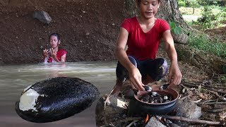 Find catch Shellfish in river - Cooking shellfish on clay for food eating delicious #73
