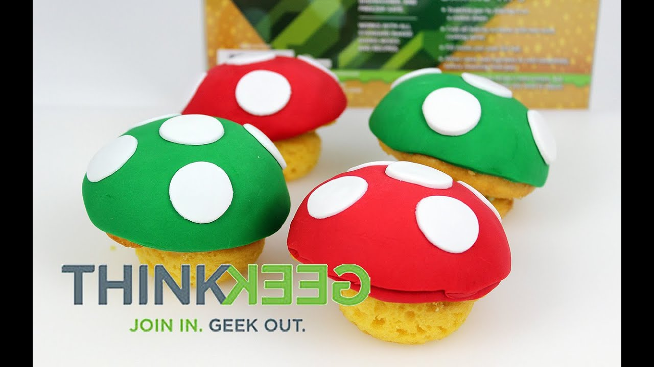Thinkgeek S Mario 8 Bit Mushroom Cupcake Pan Youtube