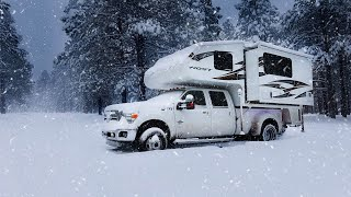 Winter Camping In A Sฑow Storm-Truck Camper Living