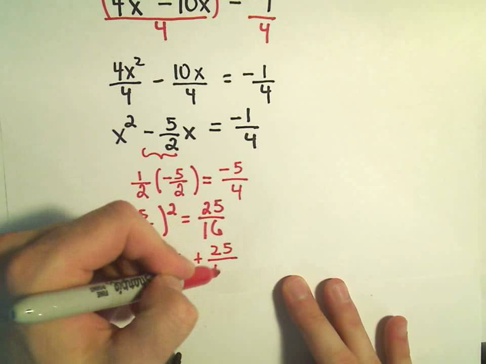 Completing The Square To Solve Quadratic Equations More Examples