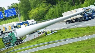 Extremely Dangerous Process of Transporting and Installing Giant Wind Turbine Blade to High Mountain