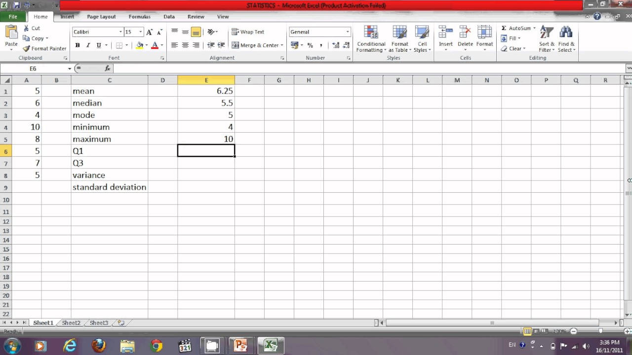 Find meanmedianmodeminmaxq1q3varstdev using excel youtube find meanmedianmodeminmaxq1q3varstdev using excel ccuart Image collections