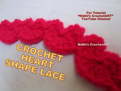 How To Crochet Heart Shape Lace Cord Stitch Tutorial For Decoration