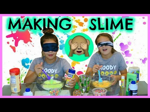 """MAKING SLIME BLINDFOLDED WITH DIFFERENT INGREDIENTS """"SISTER FOREVER"""""""
