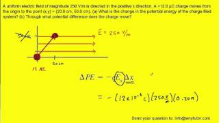 A uniform electric field of magnitude 250 V/m is directed in the positive x direction. A +12.0 µC ch