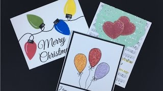 Dew Drops Heart, Balloons and Christmas Lights Card