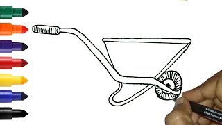 How To Draw Wheelbarrow Easy Gardening Tools Drawing For Kids Toddlers Youtube