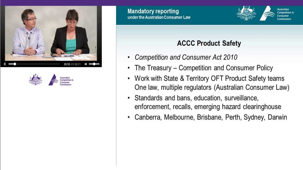 Mandatory reporting under the Australian Consumer Law ...