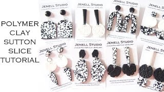 Black and White Sutton Slice Polymer Clay Tutorial and Earrings Collection