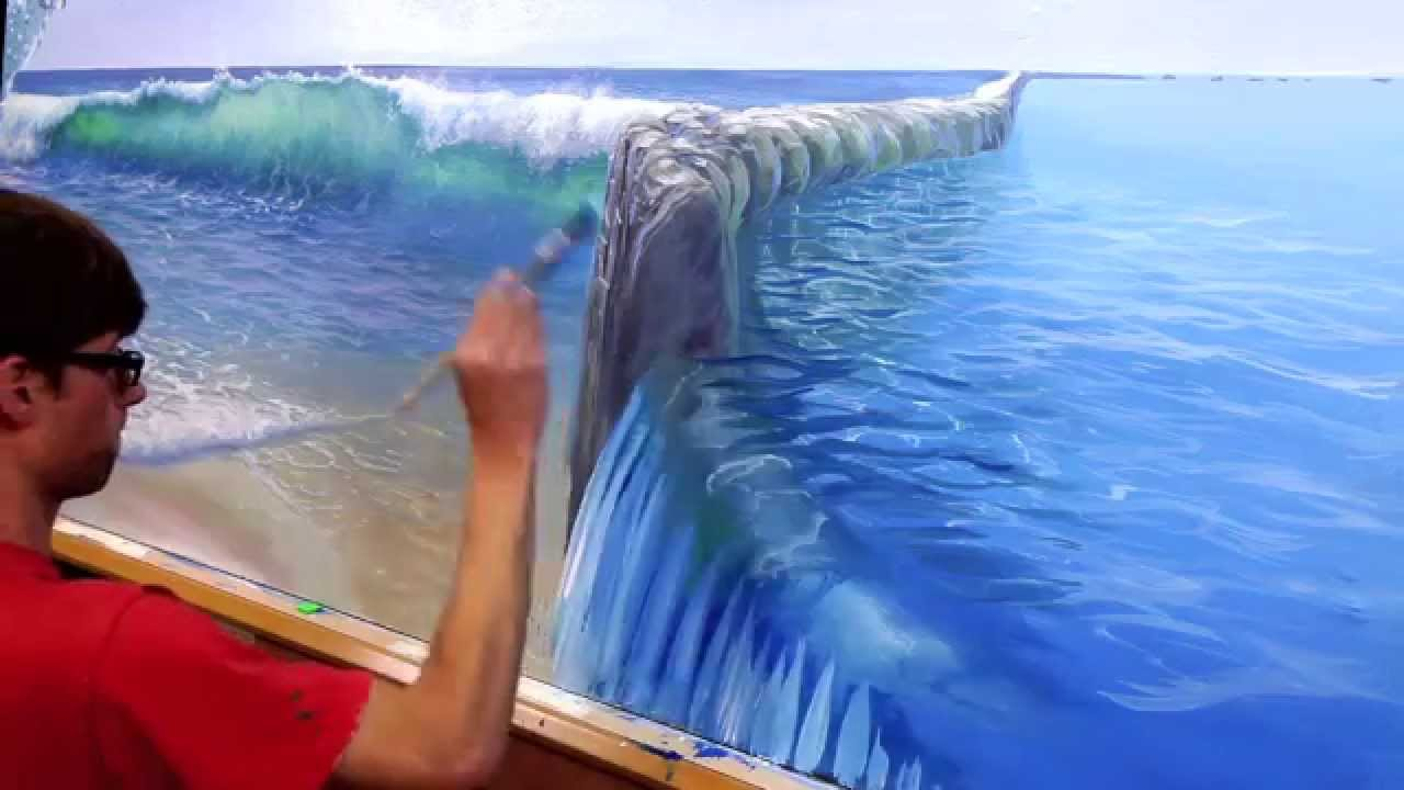 How to paint pool water mural joe youtube for Acrylic paint mural