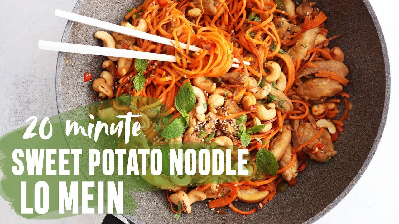 Easy 20 Minute Sweet Potato Noodle Lo Mein Gluten Free Dairy Free Youtube