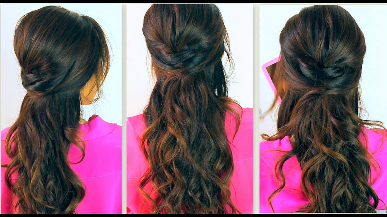 ★ cute back-to-school hairstyles | everyday prom curly half-up updos for medium long hair tutorial
