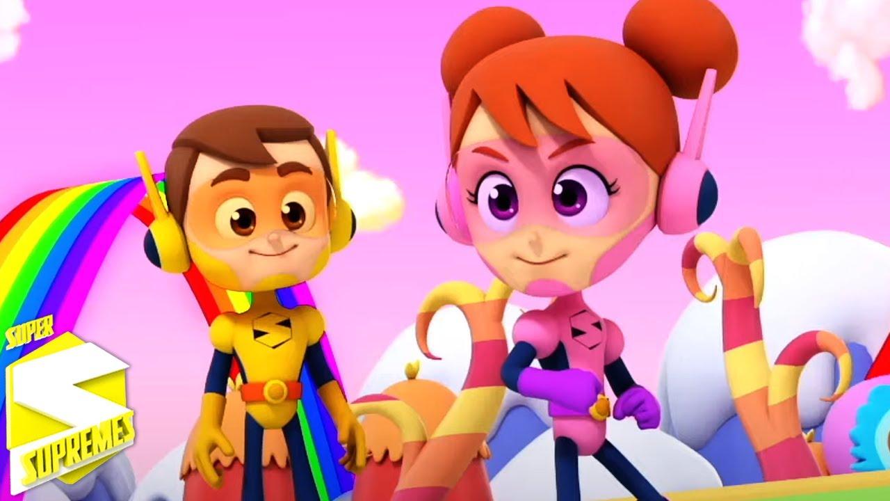 Colores del arcoiris   Música para niños   Videos animados   Super Supremes Español   Educación
